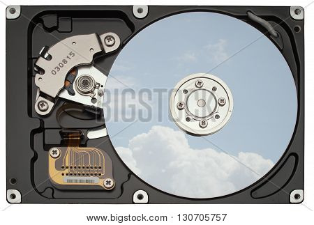Interiors of the hard disk drive The cloudy blue sky is reflected on the mirror disk.