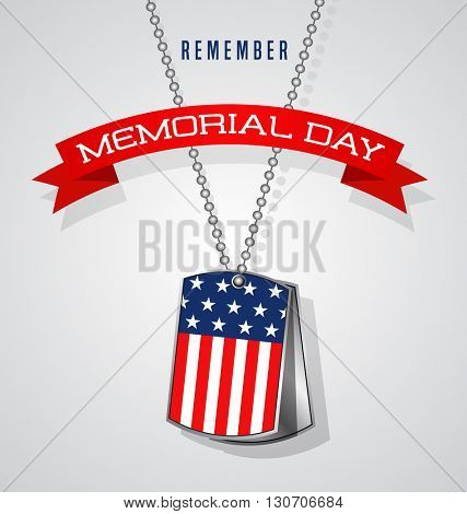 Memorial Day design with soldier dog tags, banner and flag
