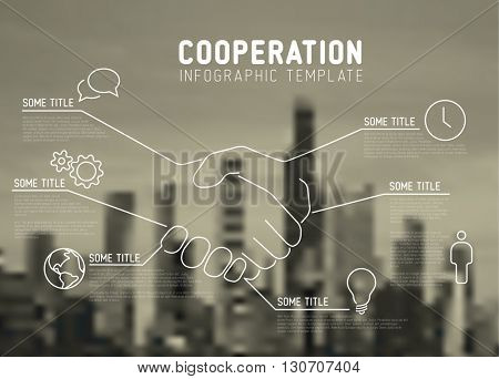 Vector Infographic cooperation report template made from lines and icons with handshake and city skyline