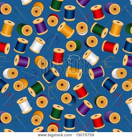 Seamless Needles & Threads Background, Blue