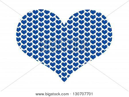 A heart shape filled with hearts made of blue fabrics machine embroidered together. The hearts are in a repeat pattern.