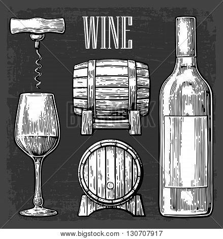 Wine set. Bottle glass corkscrew barrel. Black vintage engraved vector illustration isolated on gark background. For label poster web.