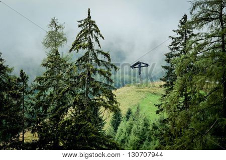 Alpine mountains, cross, crucifix, evening, trees, forest