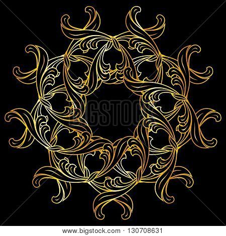 Floral pattern in gold colors on black background