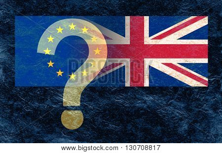 Which way will it go on June 23 - Dark blue stone background with a European Union flag and Union Jack flag merging together and a transparent ? over the gold stars with copy space at the bottom