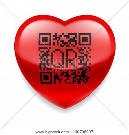 Shiny red heart with QR code. Tecnology concept