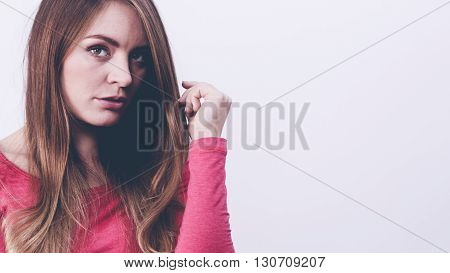 Young Woman Debating Contempalting On Problems.