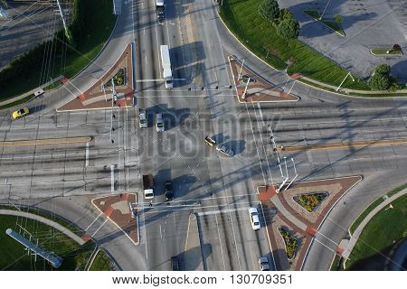 Intersection showing traffic photo taken from hot air balloon.