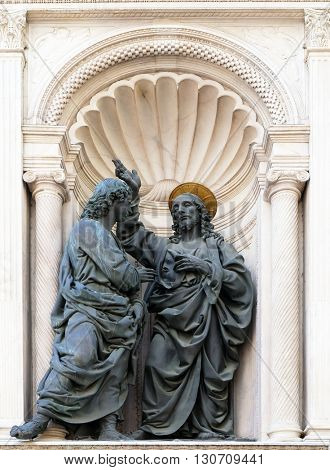 FLORENCE, ITALY - JUNE 05: Christ and St. Thomas by Verrocchio Orsanmichele Church in Florence, Tuscany, Italy, on June 05, 2015