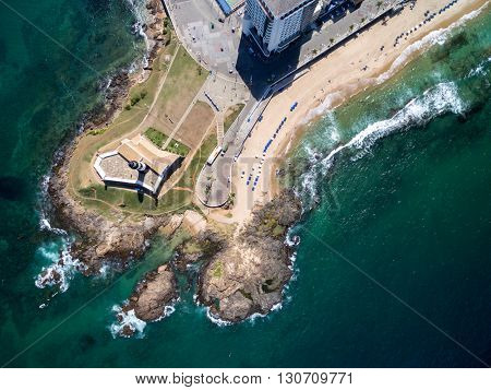 Top view of Farol da Barra (Barra Lighthouse), Bahia, Brazil