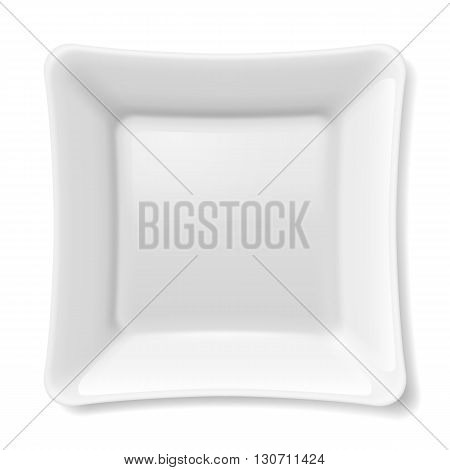 Illustration of empty white flat plate isolated on white background