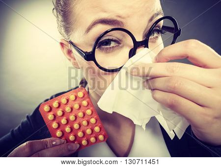 Businesswoman Having Flu Grippe.