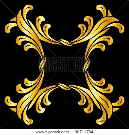 Golden pattern in floral style over black