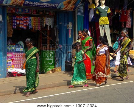 Haputale, Sri Lanka, February 13, 2016; A group of Tamil women in the streets of Haputale in Sri Lanka.
