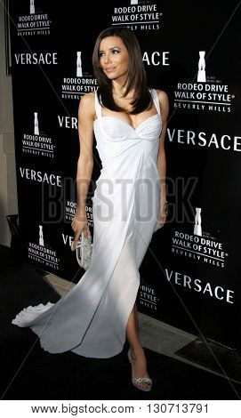 Eva Longoria at the Rodeo Drive Walk Of Style Award honoring Gianni and Donatella Versace held at the Beverly Hills City Hall in Beverly Hills, USA on February 8, 2007.