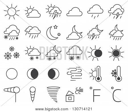 Set of weather icons and weather icons vector illustration. Snowflake cloud set weather icons and sun temperature weather icons. Weather icons thermometer symbol and drop season weather icons.