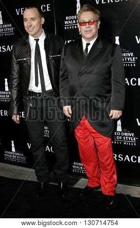David Furnish and Elton John at the Rodeo Drive Walk Of Style Award honoring Gianni and Donatella Versace held at the Beverly Hills City Hall in Beverly Hills, USA on February 8, 2007.