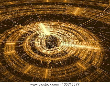 Abstract technology backbround - computer-generated image. Fractal background - golden disc with radiating from the center lines and metallic luster. For banners, covers, web design