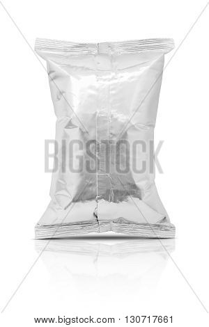blank packaging aluminum foil snack pouch isolated on white background