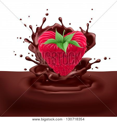 Appetizng raspberry heart dipping into chocolate with splashes