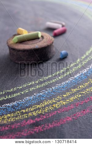 Rainbow Drawn With Chalk
