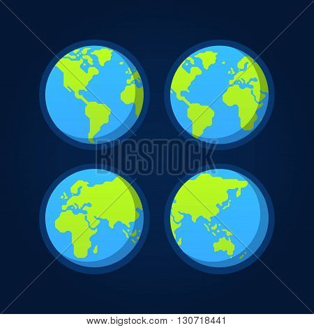 Set of 4 flat globe icons. Stylized geometric world map. Earth from space.