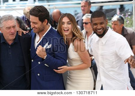 Robert De Niro, Edgar Ramirez, Ana de Armas, Usher  at the photocall for Hands Of Stone at the 69th Festival de Cannes. May 16, 2016  Cannes, France