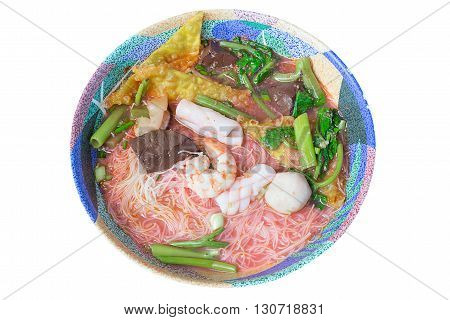 Dry Yen ta fo noodle is noodle thai style with pink spicy sauce