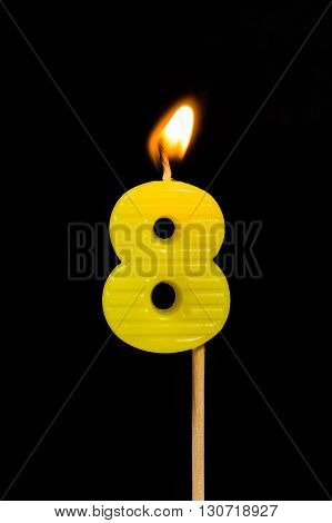 The Birthday anniversary candles showing Number. 8