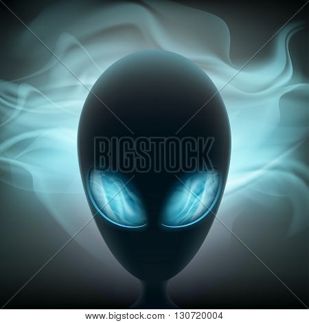 Alien head with glowing eyes on a dark background. Stock vector illustration.