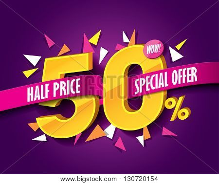 Half Price Sale concept with label banner. sale layout design. Vector illustration.