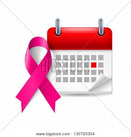 Purple awareness ribbon and calendar with marked day. General cancer awareness drug overdose domestic violence Alzheimer disease symbol