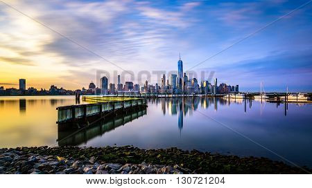 Sunrise in Manhattan shot from Jersey City across the Hudson river.