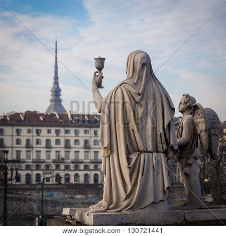 Turin, Italy - January 2016: Faith Statue
