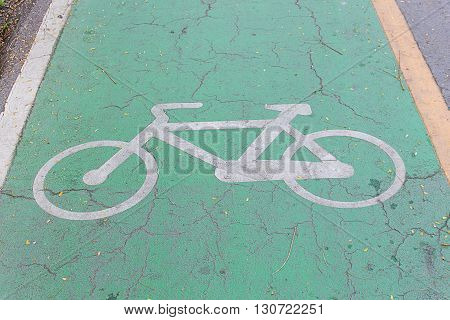 Bike lane signs painted onto a green bike lane ( Bike lane road for bicycles )