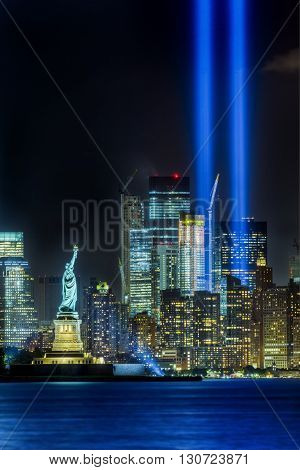New York City skyline and Statue of Liberty on 911