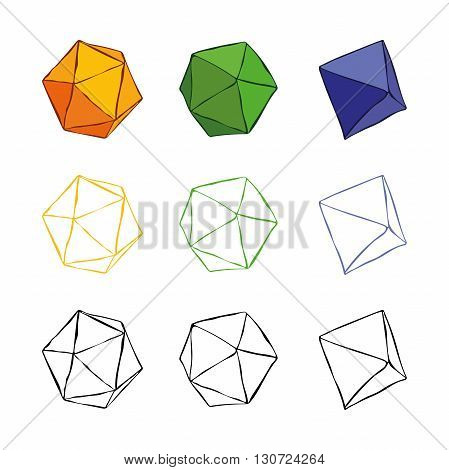 Volumetric shapes out of paper. Polyhedrons. Vector isolated object on white background.