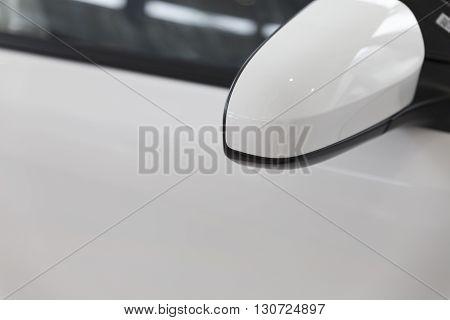 Rear Mirror Of White Car