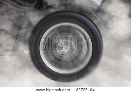 Drifting And Smoking Wheel Of New Black Car