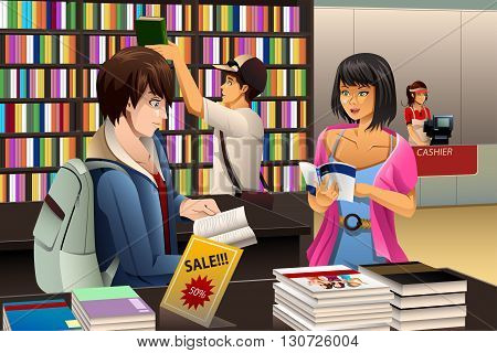 A vector illustration of people in a book store