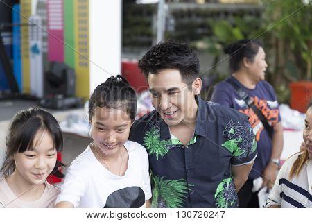 Thanawat Wattanaputi Or Pope, Famous Thai Actor, Taking Photo With His Fan Club