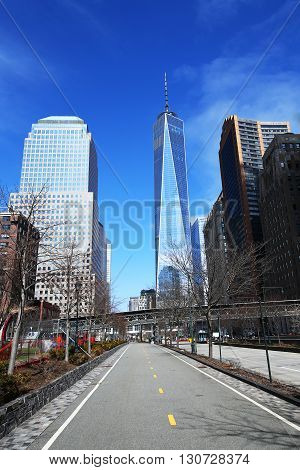 NEW YORK - MARCH 6, 2016: Freedom Tower in Lower Manhattan. One World Trade Center is the tallest building in the Western Hemisphere and the third-tallest building in the world