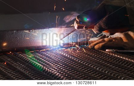 Arc welding and welding fumes in manufacturing factory