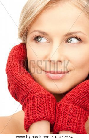 picture of beautiful woman in red mittens
