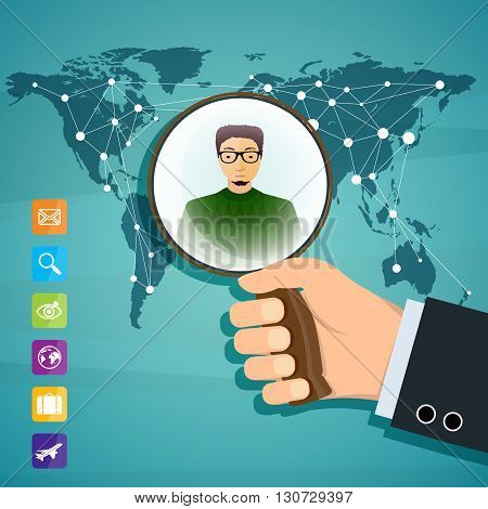 Human hand is holding magnifying glass. Social network. Stock vector illustration.