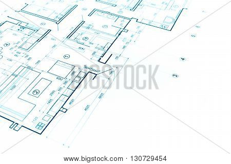 Blueprints Background With Technical Drawing Of Construction Plan