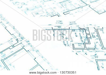 Construction Plan Blueprints, Part Of Architectural Project, Architectural Background