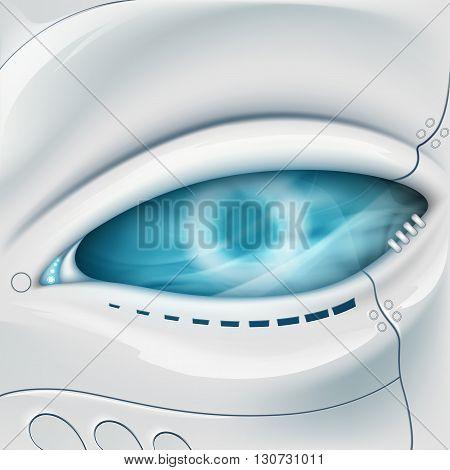 Robot Eye. Mechanical face. Stock vector illustration.
