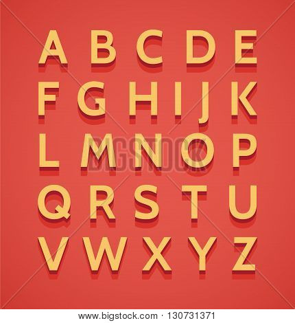 Retro style 3d effect alphabet with shadow