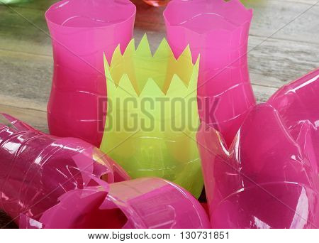 The Colorful old plastic bottles for reuse